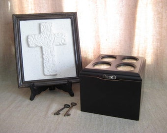 Urban Chic Black Photo Keepsake Box / Upcycled Vintage Bombay Co. Photo Box / Slightly Shabby Black Keepsake Box