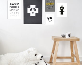 Gallery Wall Set of 5 Prints, Monochrome Kids Room, Modern Nursery Wall Art, Kids Room Posters, Playroom Decor, Children Wall Art, Baby Boy