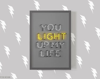 You Light Up My Life Fine Art Photography / Love Poster / Typography Poster / Neon Print / Living Room Decor / Dorm Decor / Interior Design