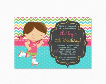 Roller Skating Birthday Party Invitation, Girl, Brunette Hair, Pink, Green, Yellow, Personalized, Printable and Printed