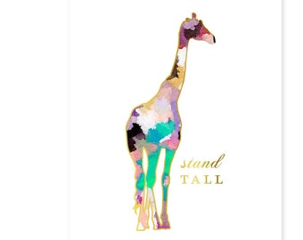 Safari Nursery Print, Girls Nursery Decor, Watercolor Nursery Art, Pink and Gold Nursery Decor, Giraffe Print, Animal Nursery Art