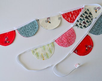 Christmas Fabric Garland, Xmas Bunting Banner, Holiday Room Decor, Handmade Fabric Banner, Holiday Wall Decor, Christmas Wall Hanging, Xmas
