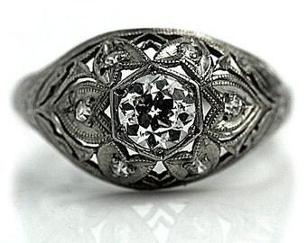 Antique Edwardian Engagement Ring Vintage Diamond Ring Old European Cut Diamond Engagement Ring .72ctw Antique Diamond Ring Circa 1920's
