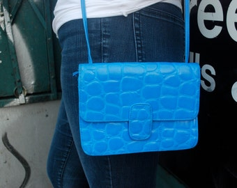 Reptile Purse Crocodile Bag Alligator Electric Bright Blue
