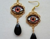 Holographic Eyes // Gorgeous Evil Eye Drop Earrings with Vintage Glass Eyes, 1940s Jet Glass, Boho Gypsy Witch Third Eye Bohemian Occult