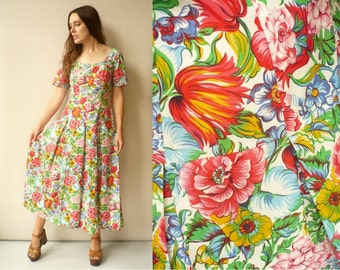 1980's Vintage Cotton Maxi Dress With Printed Liberty Of London Fabric Size S/M
