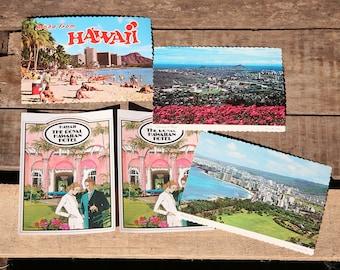 Group of 5 1970s Hawaii Post Cards - Wakiki, University of Hawaii, Aloha, Royal Hawaiian Hotel, Pink Palace