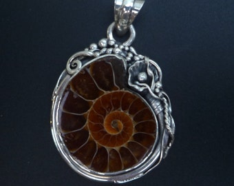 Ammonite Fossil Statement Pendant - Handmade Sterling Silver and Ammonite Pendant - One of a kind Fossil Statement Pendant - Boho Pendant
