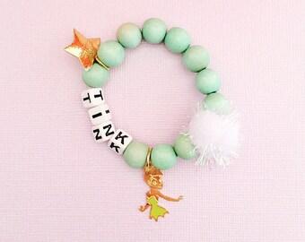 Disney Jewelry Tinkerbell Wood Bead Bracelet, giddyupandgrow