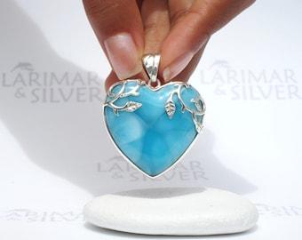 Larimarandsilver pendant, Heart of Sleeping Beauty - deep blue Larimar heart, navy blue, turtleback, AAA, organic handmade Larimar pendant