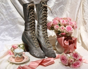Antique incredible metal lame shoes boot Edwardian victorian splendor twinkle toes tiny French heel metallic silver