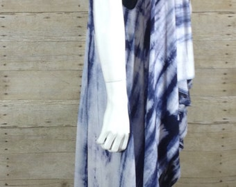 Blue and White tie dye sleeveless duster O/S