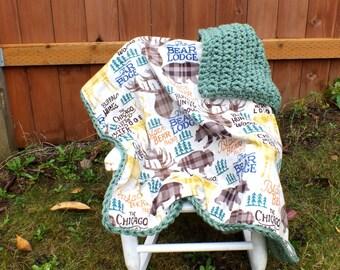 Hunting baby boy blanket hunting lodge baby blanket crochet green blanket flannel blanket double sided blanket baby boy blanket deer blanket