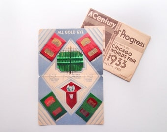 1933 World's Fair Souvenir Needle Book Case in Original Package...unused and complete
