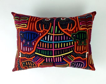 Mola Mola Pillow, Mola Animal Pillow, Multi Colored Pillow, Colorful Art Pillow, Animal Mola, Mola Collection, Abstract Art Pillow