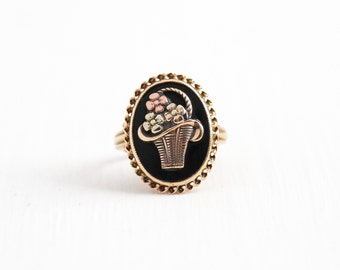 Sale - Vintage 10k Yellow Rose & Green Gold Black Onyx Flower Basket Ring - 1930s Size 4 1/4 Floral Oval Black Gem Fine Statement Jewelry