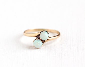 Sale - Antique 10k Rose Gold Toi et Moi Opal Gemstone Ring - Vintage Size 8 Edwardian Early 1900s Magical Two Double Gem Fine Jewelry