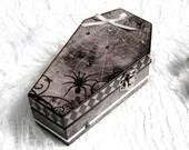 Small Coffin Box Halloween Ring Box Gift Box Trinket Box Goth Gothic Decoupaged Crystal Decorated Spider Cobweb Spiderweb