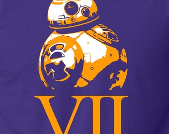 HALF OFF Sale! BB8 Shirt Youth or Adult Unisex Tee. Star Wars Shirt. Rey's Droid. In Purple Indigo or Black. Buy 2 & Get Half Off!
