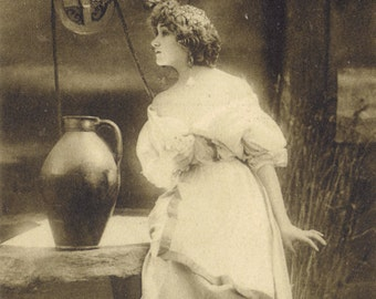 Maiden at the Well 2. Photogravure of Lilian Greuze by Leopold Reutlinger, Posted 1909