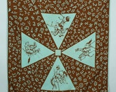 2 DAY SALE vintage COWBOY bandana • 1940s 50s handkerchief