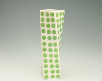 Lime Green Modern, Graphic, Retro Twisted Vase Polka Dots Hand Painted Flower Twisted Spin Container