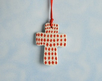 Small Cross Ornament Hand Painted Red Diamonds Design