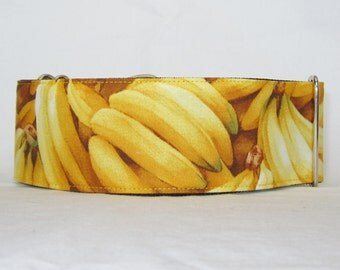 BANANAS! Martingale Dog Collar - 1.5 or 2 Inch - yellow fruit fun banana