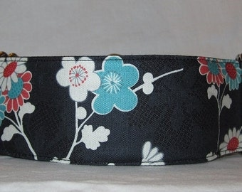 LAST ONE LARGE Elegant Stems Martingale Dog Collar - 2 Inch - bold teal gray black white flowers floral asian