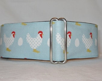 LAST ONE LARGE Charming Chicken Martingale Dog Collar - 1.5 or 2 Inch - polka dot bird egg rooster farm barn fun blue red country cute