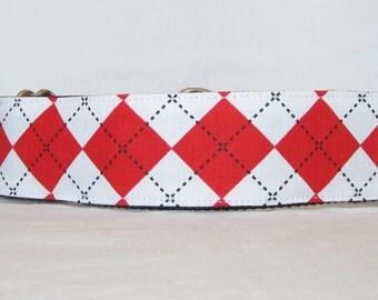 Red Argyle Martingale Dog Collar - 1.5 or 2 Inch - handsome white diamond pattern plaid boy