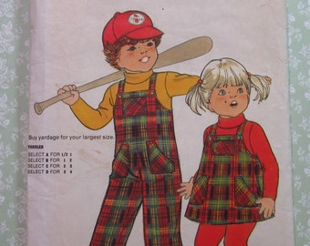 Toddlers A-line Jumper and Straight-Legged Overalls Size B (1-2) Vintage 1980's Butterick Pattern 5606 Cut/Complete
