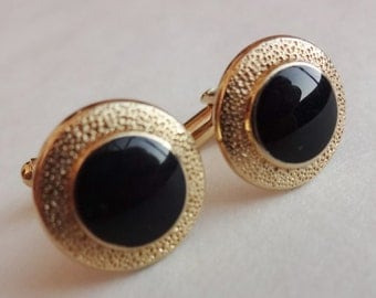 Classy Black and Gold Cuff Links