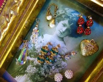 Treasure Trove Destash Lot of Vintage Bits/Pairs of Earrings/Pendants/Pearl Drops