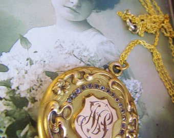 Antique Victorian Larger Round Goldfilled Repousee Monogrammed Locket