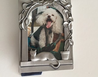 Seagull Pewter Picture Frame Metal Cat With Flower Pot/ c.1980's By Gatormom13