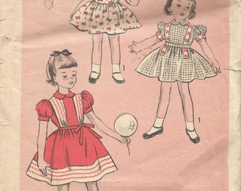 1950s Girl's Full Skirt Dress Puff Sleeves Peter Pan Collar Advance 6350 Girl Size 1 Breast 20 Girl's Vintage Sewing Pattern