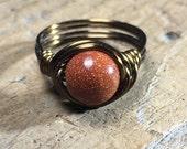 size 7.25 , 7 1/4 - Goldstone antique brass gold wire wrapped ring - gemstone glitter cinnamon brown men women unisex gemstone stone jewelry