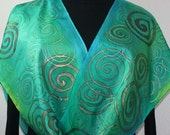 Silk Scarf Handpainted. Green, Turquoise Hand Painted Shawl. Handmade Silk Wrap GREEN TOPAZ, in Several SIZES. Birthday Gift Mother's Day