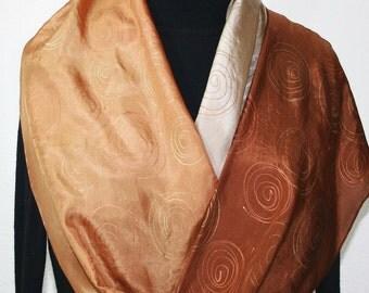 Vanilla Tan Caramel Hand Painted Silk Scarf VANILLA LATTE, in 3 SIZES. Handmade Anniversary Gift.  Birthday Gift. Wedding Scarf.
