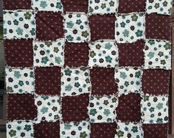Ready to SHIP, Brown Dotty Flower Rag Quilt in Lap or Travel Size, Brown and Blue 100% Cotton, Handmade in NJ