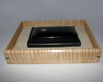 """Sleek and Sophisticated Tiger Maple Valet. Wooden Tray Upholstered in Suede Fabric. 8.25"""" x 6.25"""" x 1.5"""""""