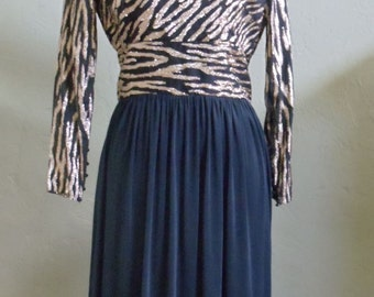 "Vintage Ursula of Switzerland Petite Metallic Gold and Black Evening Dress Bust 38"" Waist 29"""