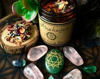 Heart Chakra (Anahata)- Herbal Incense and Crystals Set