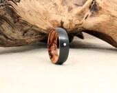 Diamond Inlay Black Zirconium Wood Ring Lined with Bethlehem Olivewood