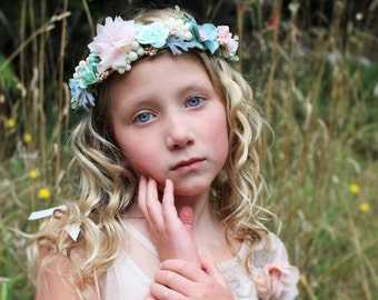 Blush flower headband, pink mint headband, flower headband, halo headband,flower girl headband,ready to ship,frosted meadows,bridal headband