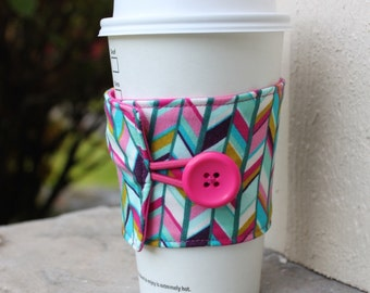 Coffee Cup Sleeve / Cozy - Bright Pink and Teal Offset Chevron - Pretty Cup Wrap - Coffee Accessory - Teacher Gift Stocking Stuffer Xmas