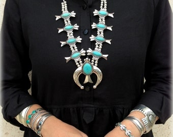SQUASH BLOSSOM style reproduction statement necklace Alloy&Howlite Turquoise Bohemian Native American southwestern inspired by Inali #SB03