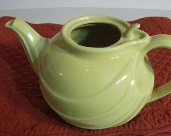 Vintage Porcelain Hall Teapot Hooked Lid Yellow/ Hall Signed USA Yellow Teapot/ Hall Tea server/ 1960s Hall Yellow hooked lid Teapot