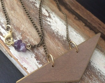 Recycled Wood and Amethyst Necklace // Recycled Wood Jewelry // Wood and Crystal Necklace